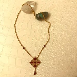 Vintage Red & Gold Toned Necklace